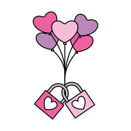 two padlock love balloons hearts valentine day  vector illustration