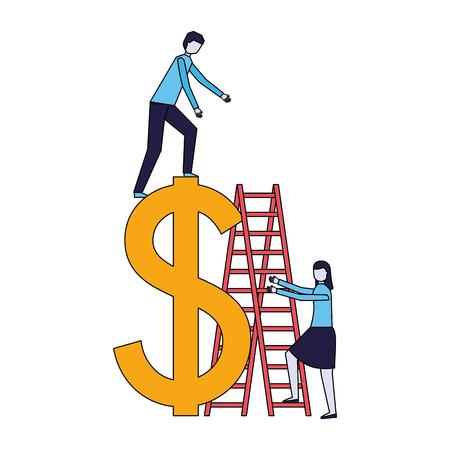 business people stairs dollar symbol vector illustration Standard-Bild - 126465848