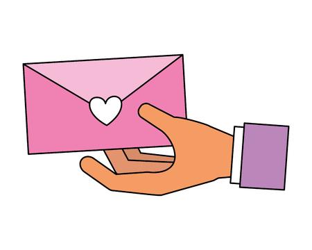 hand holding envelope message love valentine day vector illustration