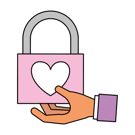 hand holding love padlock valentine day  vector illustration Foto de archivo - 114672681