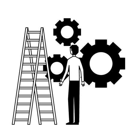 businessman with gears and stairs vector illustration monochrome