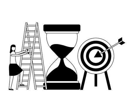 business woman with hourglass target and stairs vector illustration monochrome