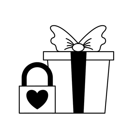 wrapped gift box with padlock love valentine day  vector illustration monochrome