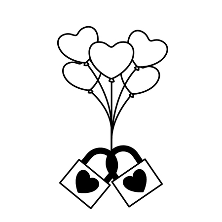 two padlock love balloons hearts valentine day  vector illustration monochrome