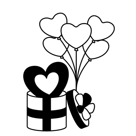 wrapped gift box with heart balloons valentine day  vector illustration monochrome