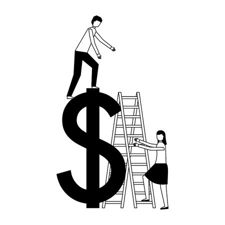 business people stairs dollar symbol vector illustration vector illustration