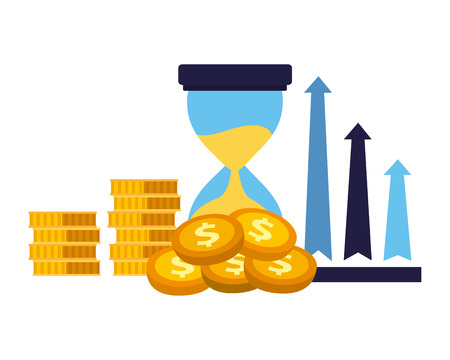 business clock arrows stack money vector illustration