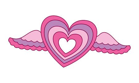 corazón, alas, amor, romántico, día de san valentín, vector, ilustración Ilustración de vector