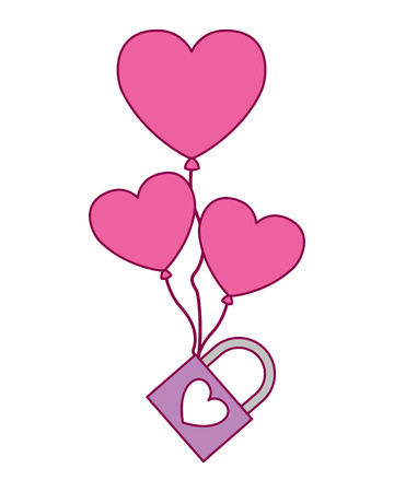 balloons hearts with padlock love valentine day vector illustration