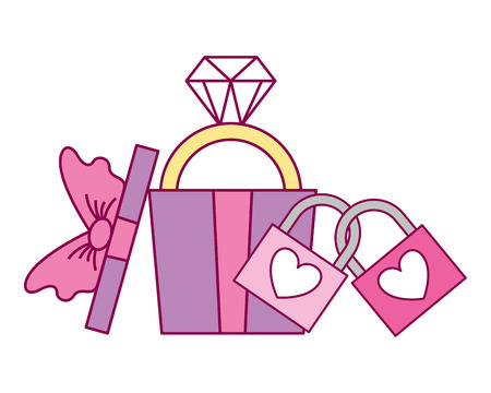 gift box with ring and padlocks valentine day vector illustration