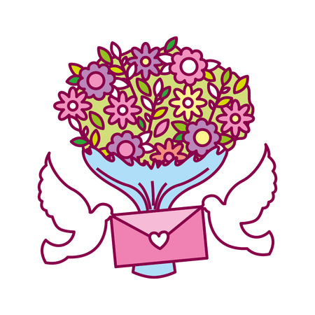 pigeons with letter and bouquet flower valentine day vector illustration