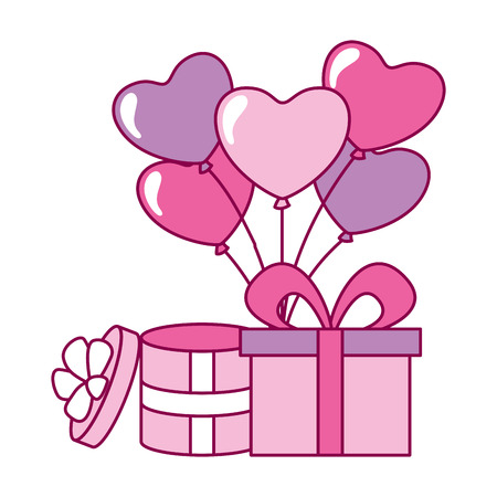 gift boxes with balloons hearts valentine day vector illustration Stock Vector - 114672690