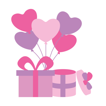 gift boxes with balloons hearts valentine day vector illustration