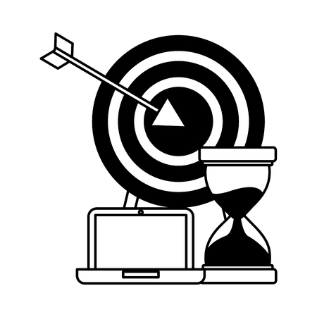 business laptop hourglass and target vector illustration
