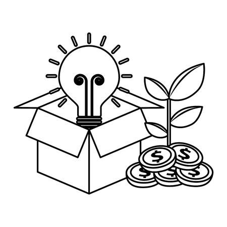 business cardboard box bulb coins plant vector illustration