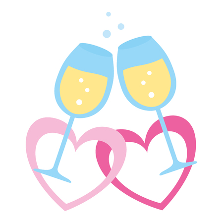 champagne cups with hearts valentine day vector illustration