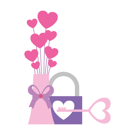 vase love hearts padlock key valentine day vector illustration