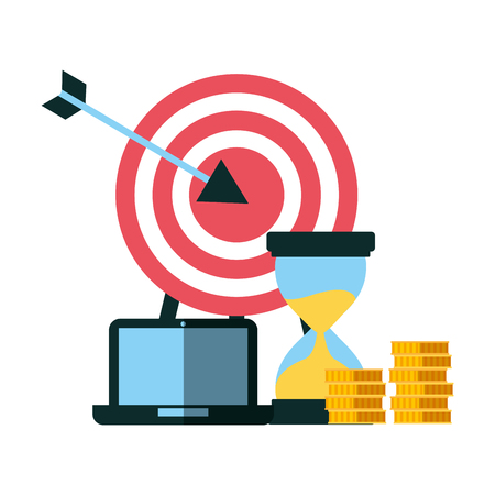 business laptop hourglass coins and target vector illustration