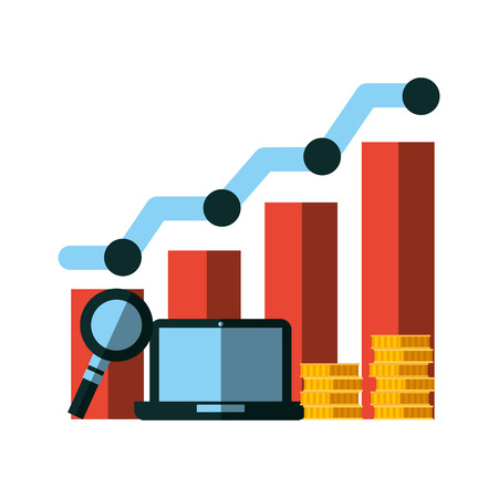 business laptop chart coins analysis vector illustration