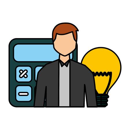 businessman calculator financial bulb creativity vector illustration