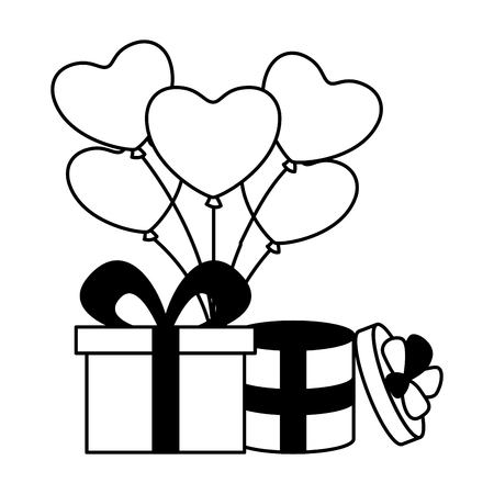 gift boxes with balloons hearts valentine day vector illustration Stock Vector - 126465930