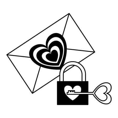 message heart padlock key love valentine day vector illustration