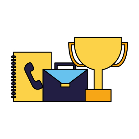 business trophy briefcase and contacts book vector illustration