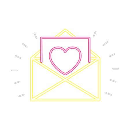 envelope message romantic valentine day vector illustration monochrome neon