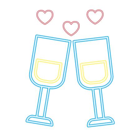 valentine day neon champagne cups love celebration vector illustration neon
