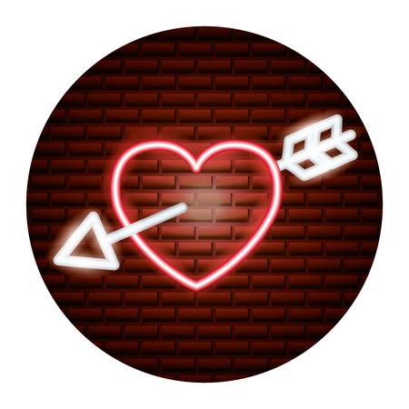 valentine day neon love heart pierced arrow vector illustration neon