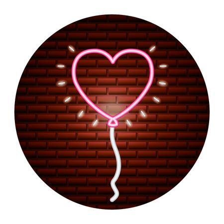balloon shaped heart valentine day vector illustration neon Illustration