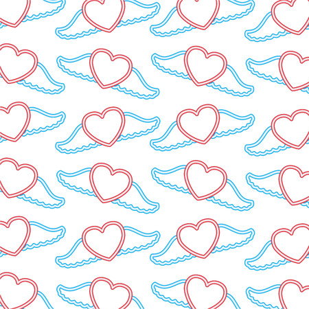 hearts love wings valentine day background vector illustration neon