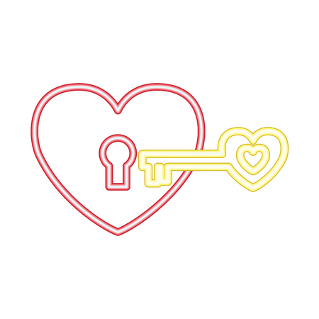 valentine day neon love heart padlock key vector illustration neon Foto de archivo - 126465996
