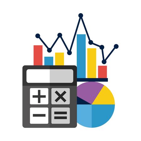 calculatrice statistiques affaires graphique rapport illustration vectorielle