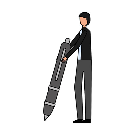 businessman with pen on white background vector illustration