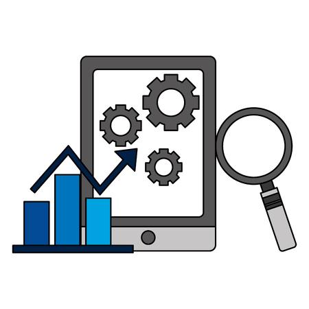 illustration vectorielle de rapport de graphique d'entreprise d'analyse de statistiques mobiles