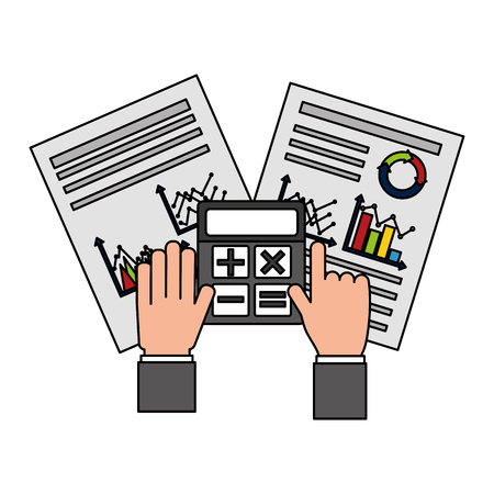 hands with calculator papers work business chart report vector illustration