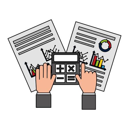 Mains avec calculatrice papiers travail rapport graphique d'entreprise vector illustration
