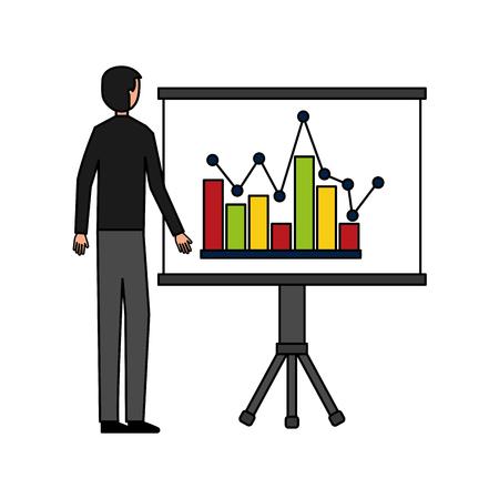 businessman with board presentation chart report vector illustration