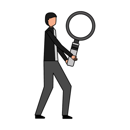 businessman with magnifying glass object vector illustration