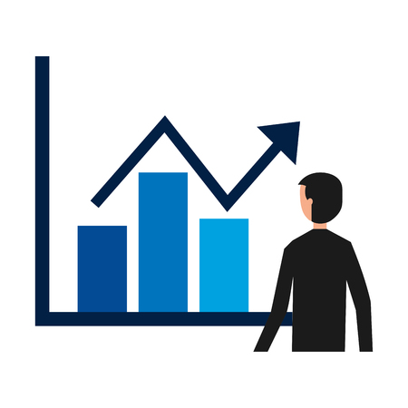 businessman with statistics diagram information vector illustration Banque d'images - 114672580