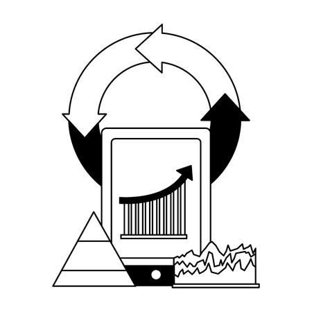 mobile chart diagram finance business vector illustration