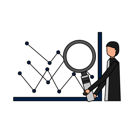 businessman with magnifying glass chart financial vector illustration Illustration