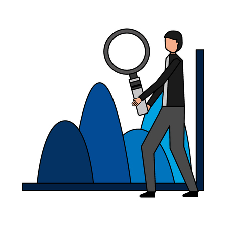 businessman with magnifying glass chart financial vector illustration Foto de archivo - 114672583