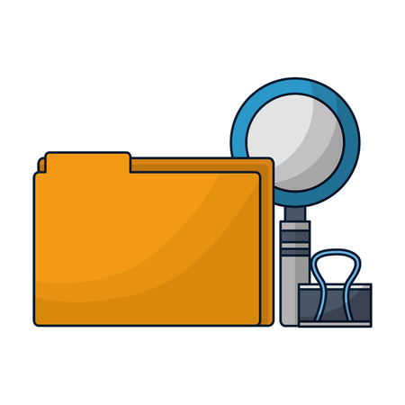 office supllies folder clip and magnifying glass vector illustration 写真素材 - 126466069