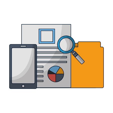office business report folder mobile vector illustration