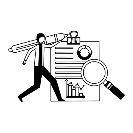businessman with pen and report document analysis vector illustration