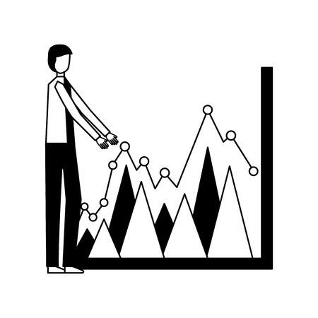 homme d'affaires avec illustration vectorielle d'informations de diagramme de statistiques