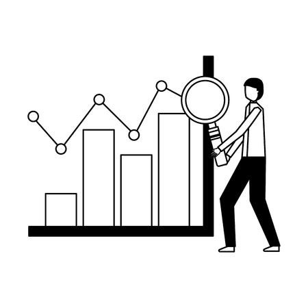 Businessman with loupe graphique illustration vectorielle financière Vecteurs