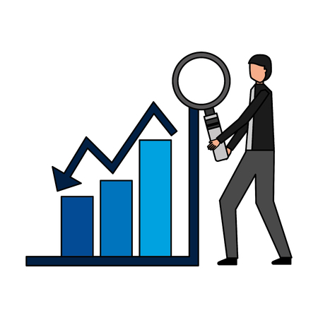 businessman with magnifying glass chart financial vector illustration Vecteurs